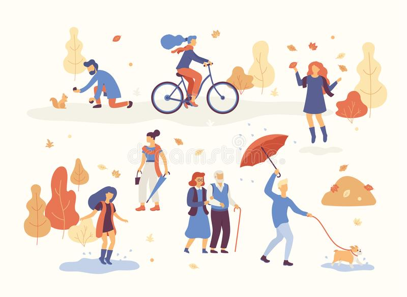 Folket i hösten parkerar att ha gyckel och att gå hunden och att rida cykeln och att hoppa på pöl som spelar med höstsidor stock illustrationer