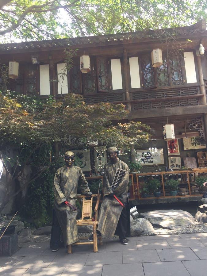 Folket i JinLi av chengdu som lämnar aldrig royaltyfria foton