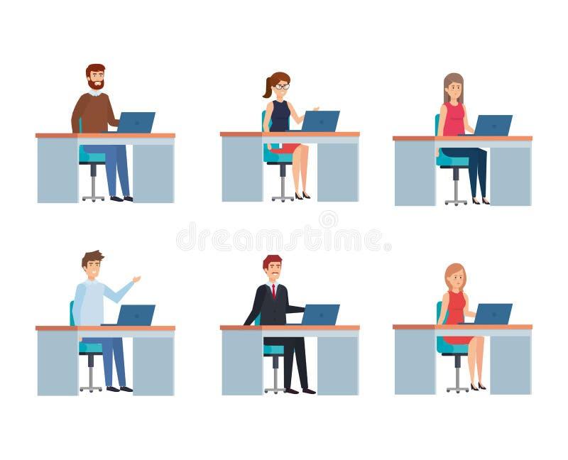 Folket i kontor planlägger stock illustrationer