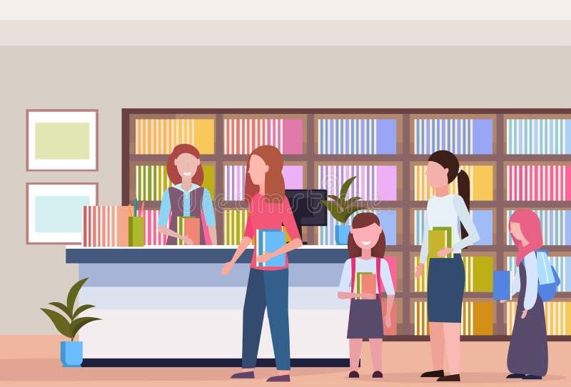 Folket i linje köar låna böcker från för den moderna den inre bokhyllan arkivbokhandeln för bibliotekarien med bokläsning vektor illustrationer