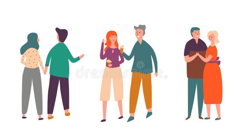 Folket kopplar ihop teckendatumuppsättningen Familjvänpar går tillsammans, äter glass och samtal Vuxen mandans med kvinnan stock illustrationer