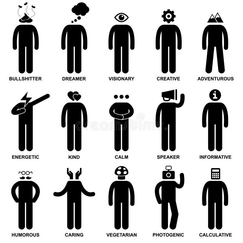 Folket Man egenskap inställning royaltyfri illustrationer