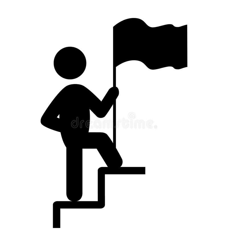 Folket Man med flaggan på Pictogram för trappalägenhetsymboler på W royaltyfri illustrationer