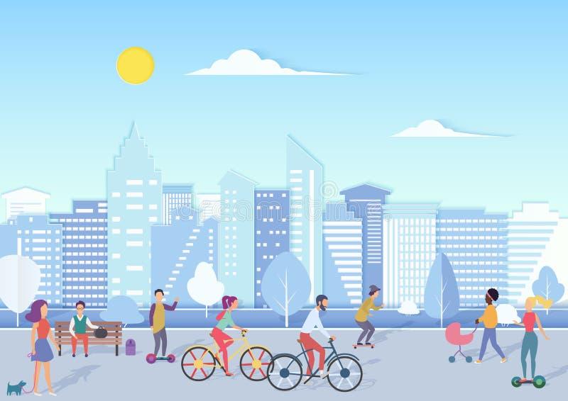 Folket med bikecycles, hoverboards, behandla som ett barn att gå och att koppla av i stads- gata för stadsfyrkant med modern stad royaltyfri illustrationer