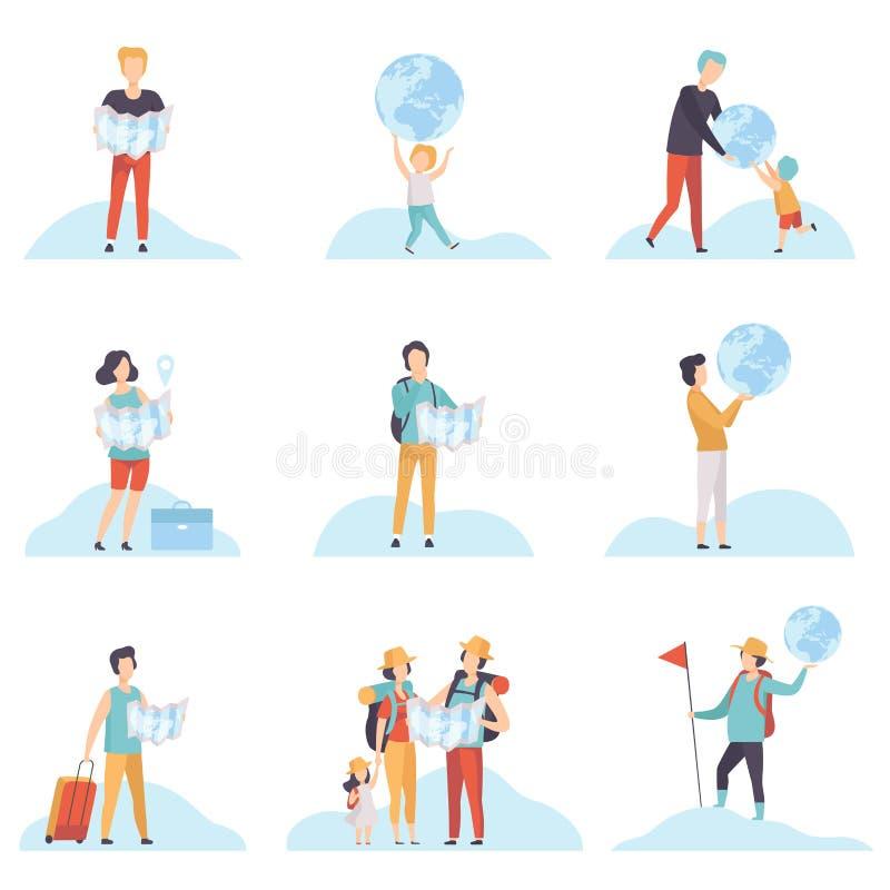 Folket med jordklot och översikter ställde in, män, kvinnor och ungar som rymmer jordjordklotet och översiktsvektorillustrationen vektor illustrationer