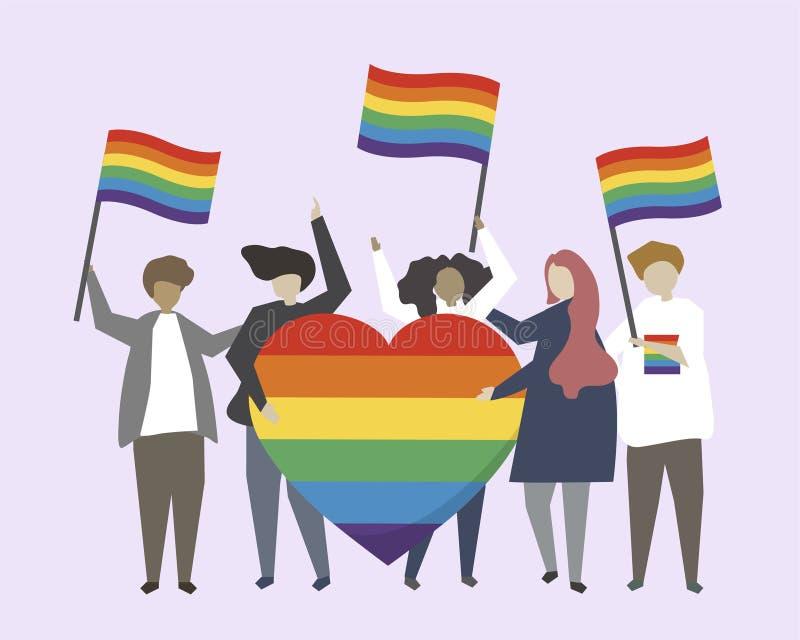 Folket med LGBTQ-regnbågen sjunker illustrationen vektor illustrationer