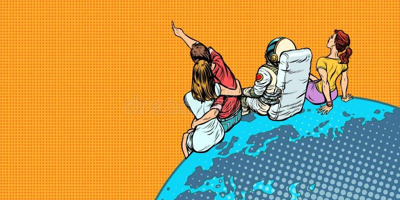 Folket och ett astronautsammanträde på planeten jordar en kontakt att hålla ögonen på himlen royaltyfri illustrationer