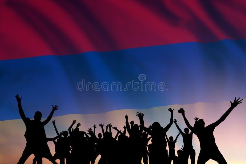 Folket och flaggan på Armeniens dag arkivbild