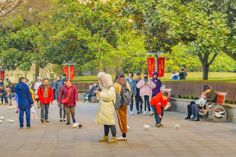 Folket på allmänhet parkerar, Shanghai, Kina royaltyfri bild