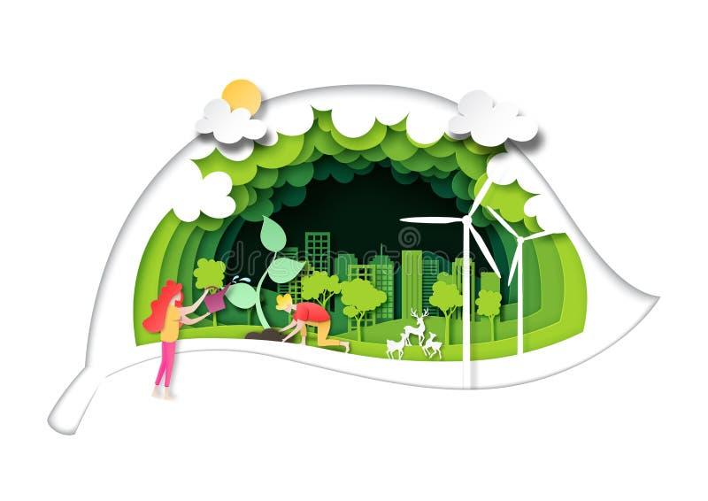 Folket planterar trädet på grön stad med gröna bladbakgrundslager skyler över brister konststil stock illustrationer