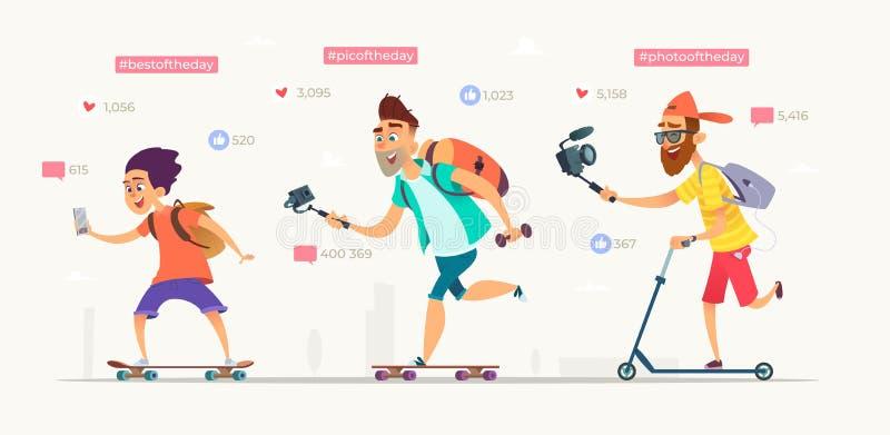 Folket plundrar på skateboarder eller sparkcyklar och skyttevideobloggar Samling av aktiva bloggerstecken vektor illustrationer