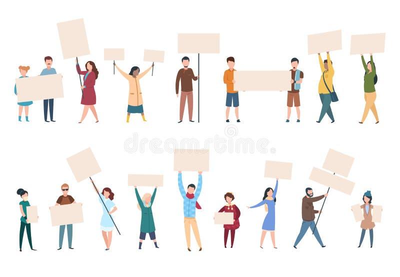 Folket protesterar manliga kvinnliga aktivister med baner och plakat i politikmanifestation Vektor för politisk aktivist stock illustrationer