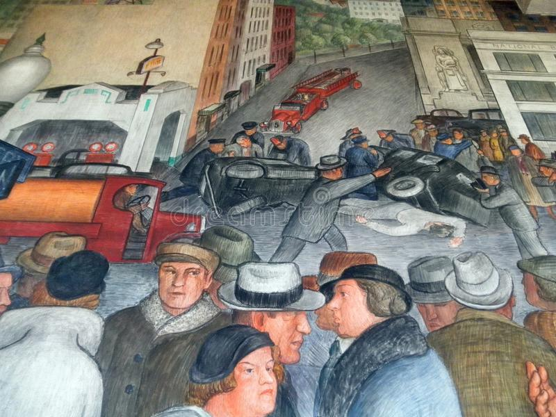 Folket riktar och arbetar på drev i Coit tornväggmålning royaltyfri fotografi
