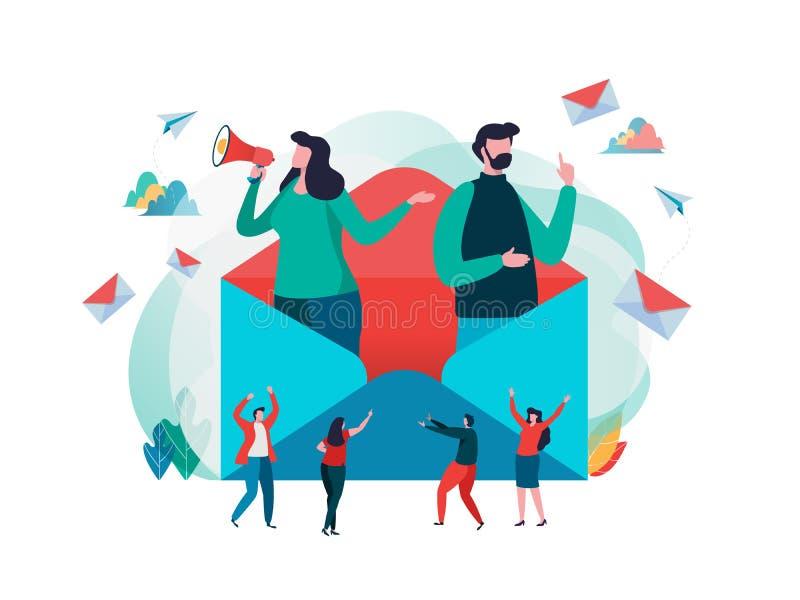 Folket rymmer post Arbetande process, nytt emailmeddelande, postmeddelande Socialt nätverk som pratar, läsningbokstav, nytt inkom vektor illustrationer