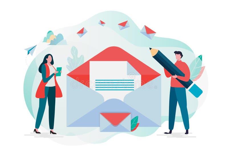 Folket rymmer post Arbetande process, nytt emailmeddelande, postmeddelande royaltyfri illustrationer