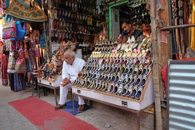 Folket säljer deras gods på basaren i Pushkar, Indien royaltyfri foto