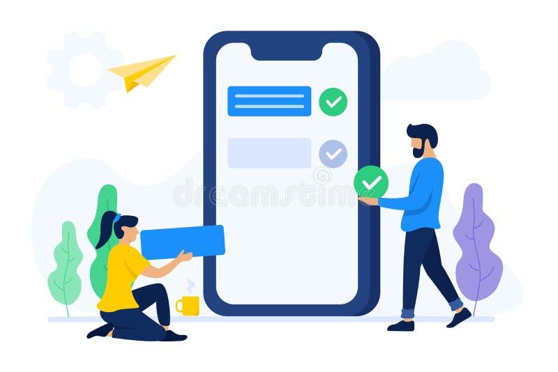 Folket samarbetar för att göra mobil applikation stock illustrationer