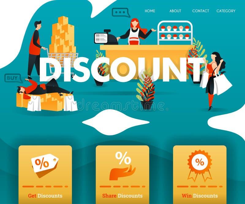 Folket shoppar lyckligt med stor RABATT för direktanslutet shoppa, e-komrets, befordran, återförsäljnings- och att marknadsföra,  vektor illustrationer