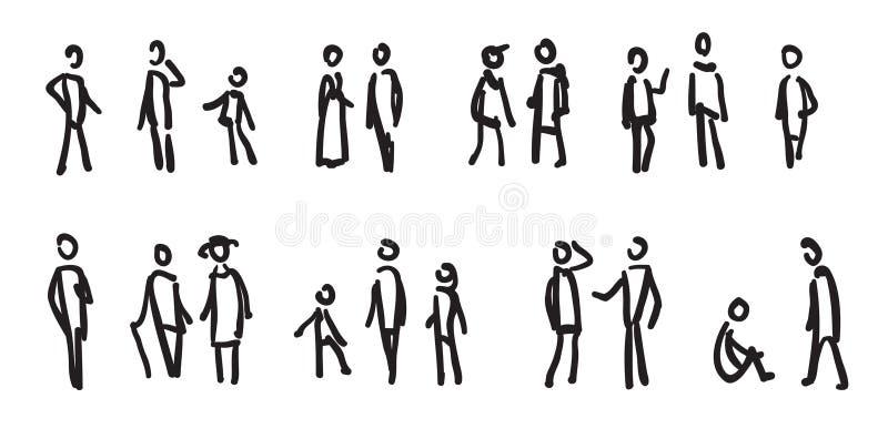 folket skissar stock illustrationer