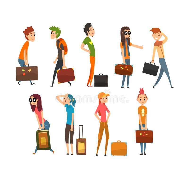 Folket som bär tunga resväskor, ställde in, den unga mannen och kvinnaresanden på illustration för semestertecknad filmvektor på  vektor illustrationer