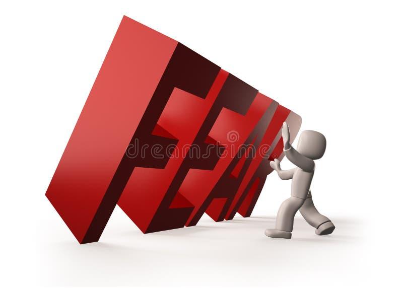 folket som 3d stoppar röd SKRÄCK, uttrycker att falla, illustrationen 3D stock illustrationer