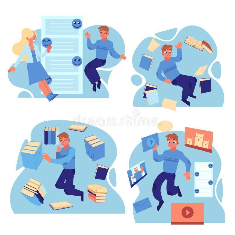 Folket som flyger i miljö av informationskällor och meddelanden, ställde in isolerat på vit bakgrund royaltyfri illustrationer