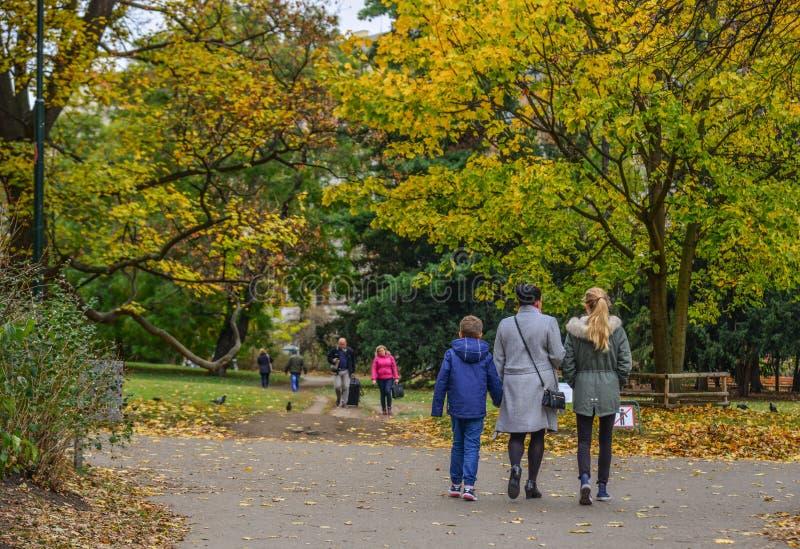 Folket som går på hösten, parkerar arkivfoto