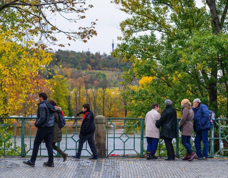 Folket som går på hösten, parkerar arkivbild
