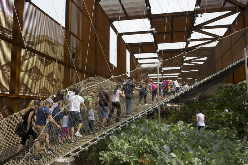 Folket som går på th, inställde netto på utsidan av den brasilianska paviljongen arkivbild