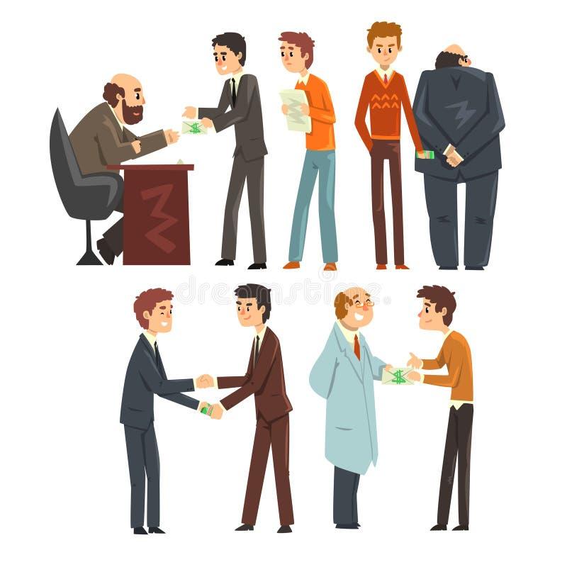 Folket som ger mutor, ställde in, korruption och illustrationen för bestickningbegreppsvektor på en vit bakgrund royaltyfri illustrationer