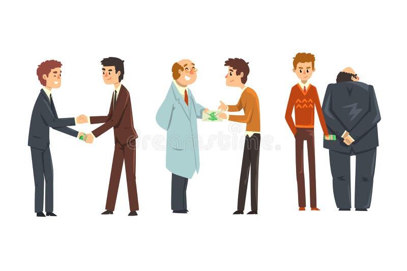 Folket som ger mutor, st?llde in, korruption och illustrationen f?r bestickningbegreppsvektor p? en vit bakgrund stock illustrationer