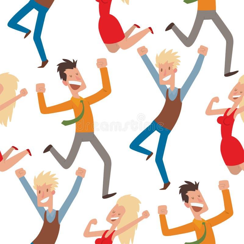 Folket som hoppar i lycklig man för berömpartivektor, hoppar berömglädjeteckenet Gladlynt kvinnaaktivlycka vektor illustrationer
