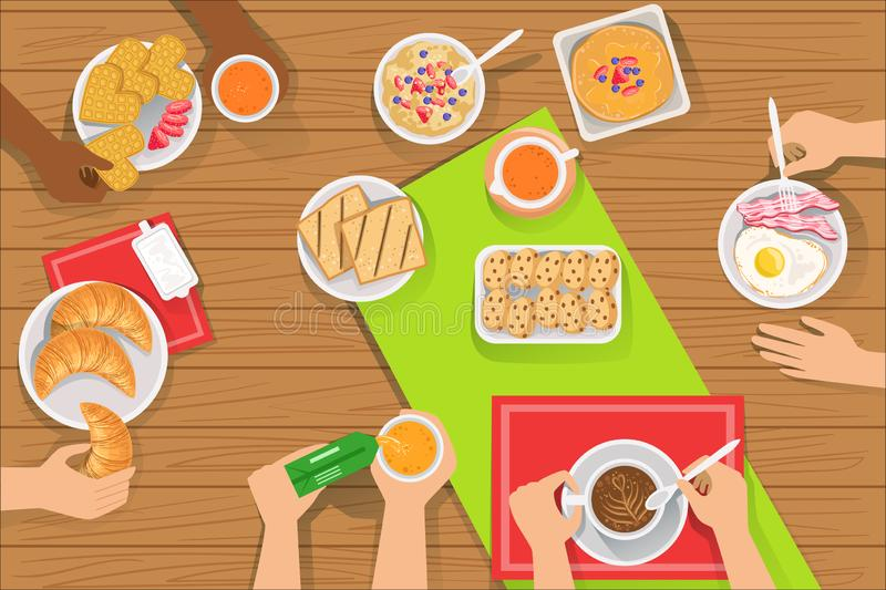 Folket som ?ter olika frukostm?l besk?dar tillsammans, fr?n ?ver vektor illustrationer