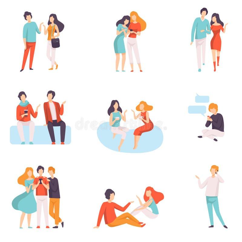 Folket som till varandra talar, ställer in, för unga män och för kvinnor iklätt tillfälligt bekläda den talande och skvallra vekt stock illustrationer