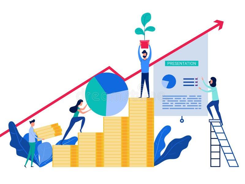 Folket som tillsammans arbetar och, framkallar affärsstrategi till framgång Begrepp av investeringen och ökande finansiell tillvä vektor illustrationer