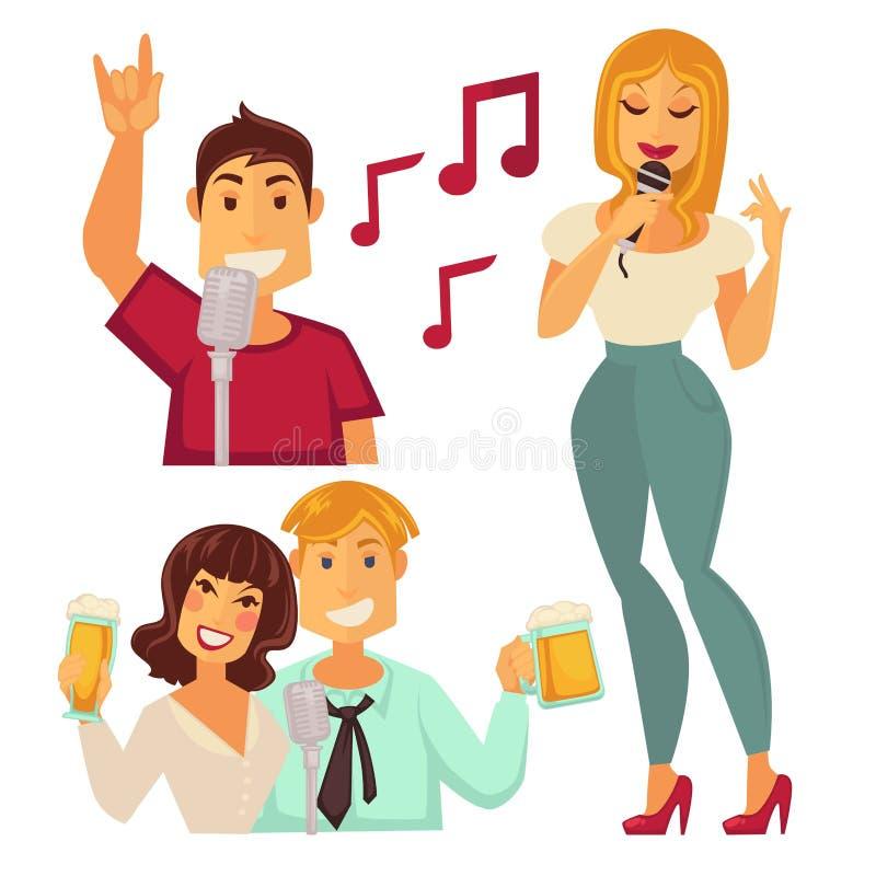 Folket som underhåller i karaoke, bommar för isolerat på vit Par royaltyfri illustrationer