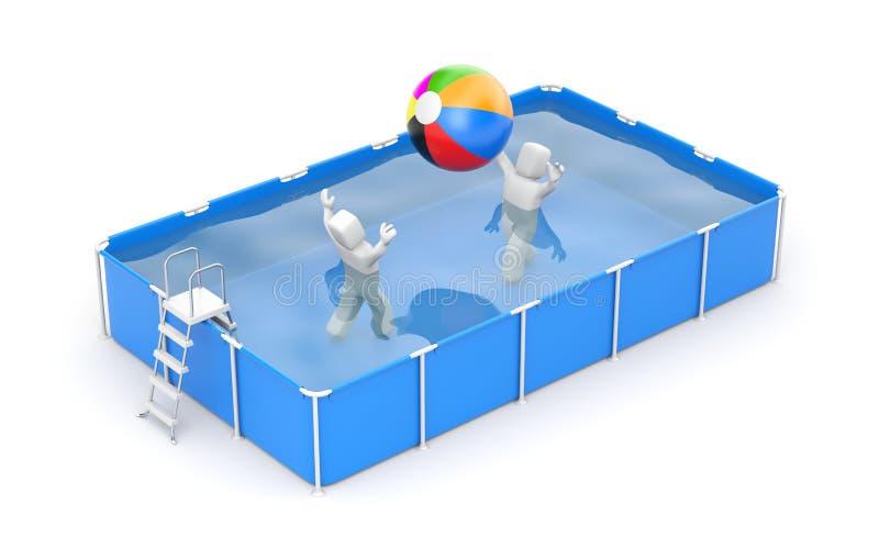Folket spelar med en boll i pölen stock illustrationer