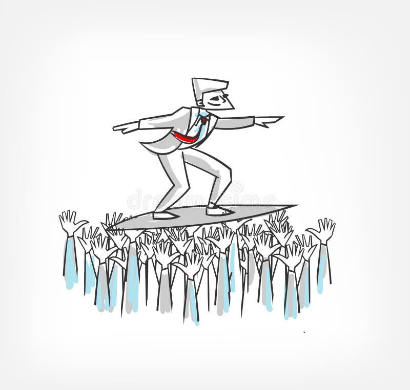 Folket stöttar illustrationen för ledarebegreppsvektorn vektor illustrationer