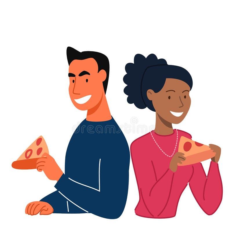 Folket ?ter pizza vektor illustrationer