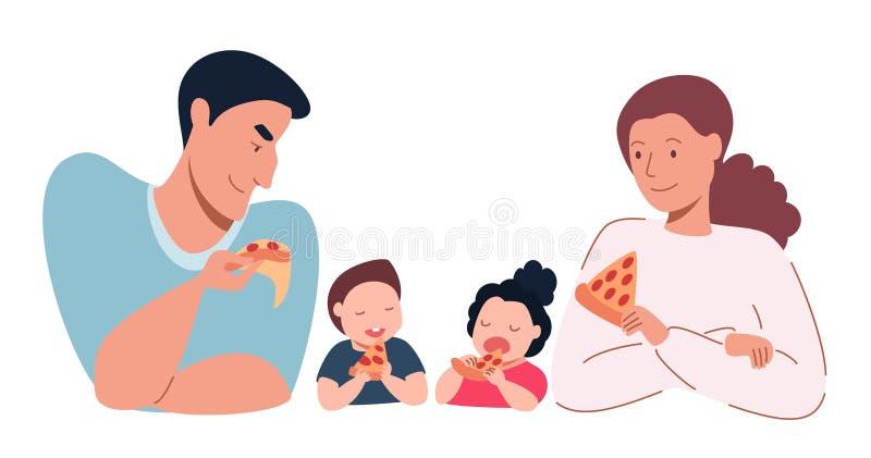 Folket ?ter pizza royaltyfri illustrationer