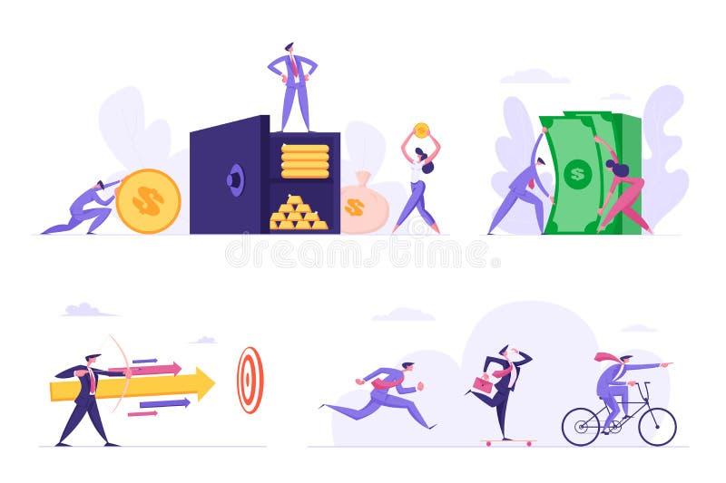 Folket tjänar räddningpengar, affärskonkurrens, utmaningen som uppsätta som mål uppsättningen Affärsman på kassaskåpet med guld-  vektor illustrationer