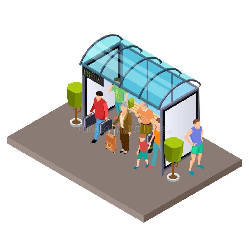 Folket väntar på bussen på den isometriska vektorillustrationen för hållplatsen stock illustrationer
