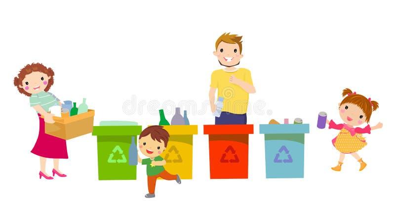 Folkfamilj som samlar avskräde och plast- avfalls för återanvändning vektorillustrationbeståndsdel som isoleras på vit bakgrund royaltyfri illustrationer
