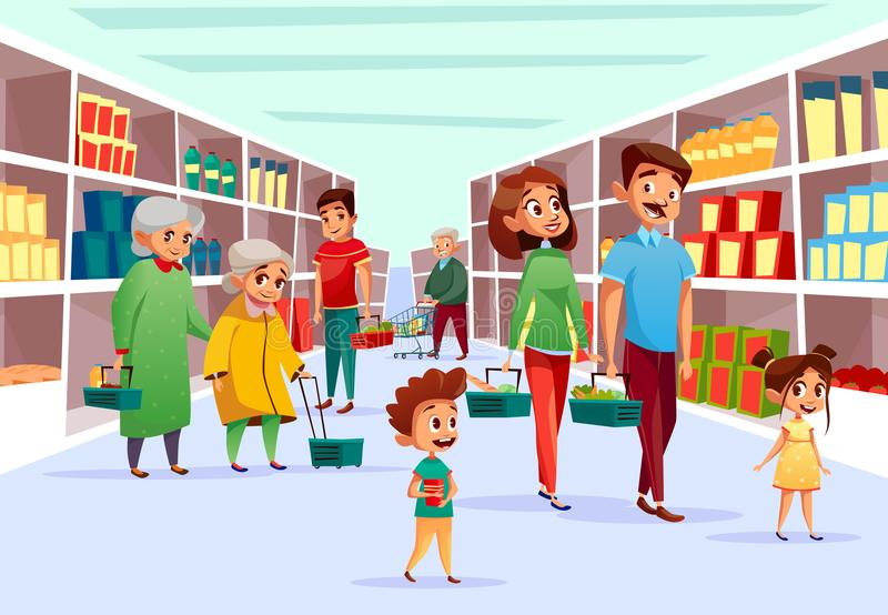 Folkfamiljshopping i illustration för supermarketvektortecknad film vektor illustrationer