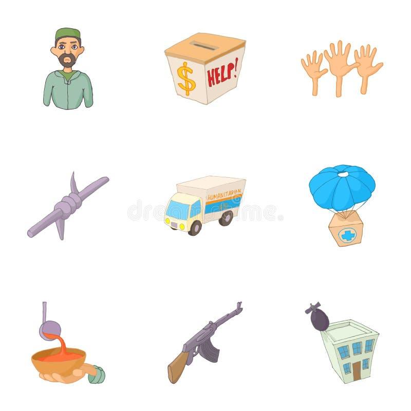 Folkflyktingsymboler uppsättning, tecknad filmstil vektor illustrationer