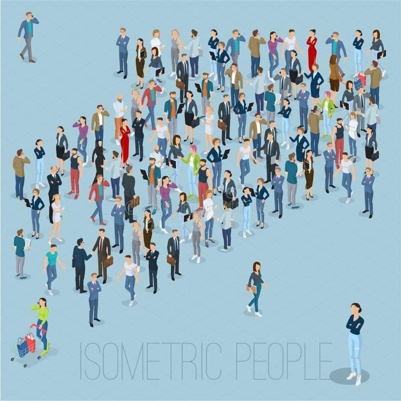 Folkfolkmassapil stock illustrationer