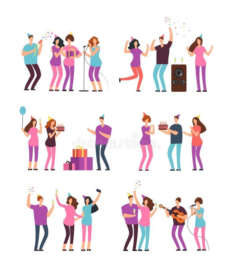 Folkgrupper på familjfödelsedagpartiet med firecrackeren, kakan och ballonger Isolerade minsta tecken för vektortecknad film royaltyfri illustrationer