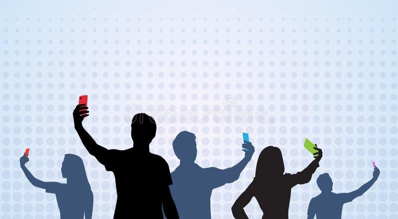 Folkgruppkontur som tar det Selfie fotoet på den cellSmart telefonen royaltyfri illustrationer
