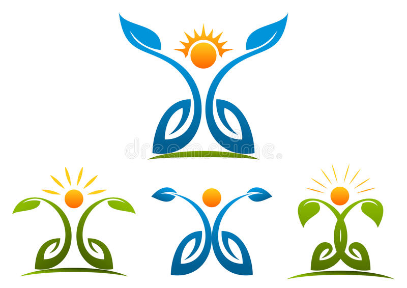 Folkhälsa, växt, tillväxt, natur, botanik, logo, wellness stock illustrationer