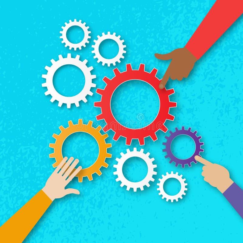 Folkhänder rymmer färgrika kugghjul - mekanismsystem cogwheels royaltyfri illustrationer